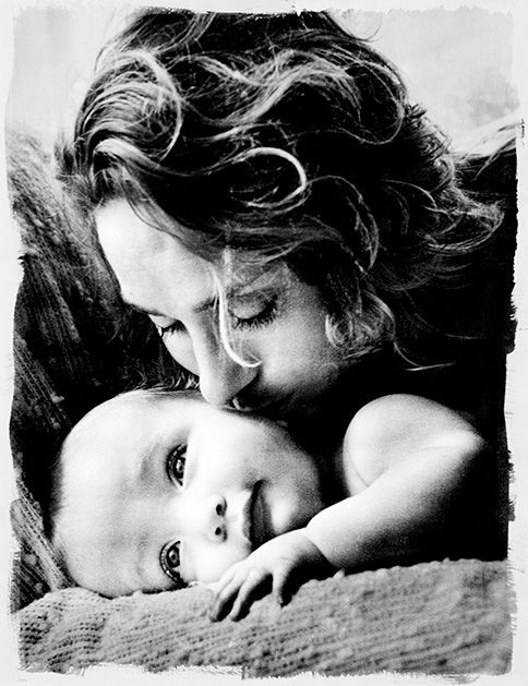 "Mother and baby, Original Silver gealtine on hand made paper 20x24"" framed print"